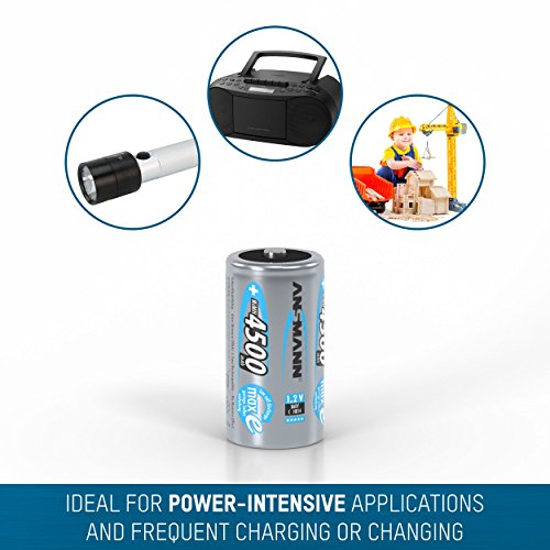 ANSMANN maxE Baby C Akku 4500mAh (2er Pack) vorgeladene ready2use NiMH Power Akkubatterie Babyzelle mit geringer Selbstentladung - 4