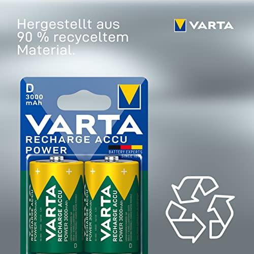 Varta Rechargeable Accu Ready2Use D Mono Ni-Mh Akku (2-er Pack, 3000 mAh) - 3
