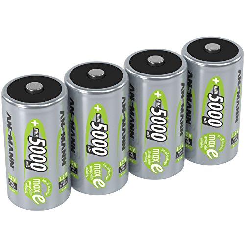 ANSMANN maxE Mono D Akku 5000mAh (4er Pack) vorgeladene ready2use NiMH Power Akkubatterie Monozelle mit geringer Selbstentladung