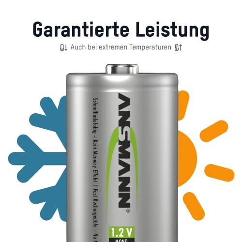 ANSMANN maxE Mono D Akku 5000mAh (4er Pack) vorgeladene ready2use NiMH Power Akkubatterie Monozelle mit geringer Selbstentladung - 4