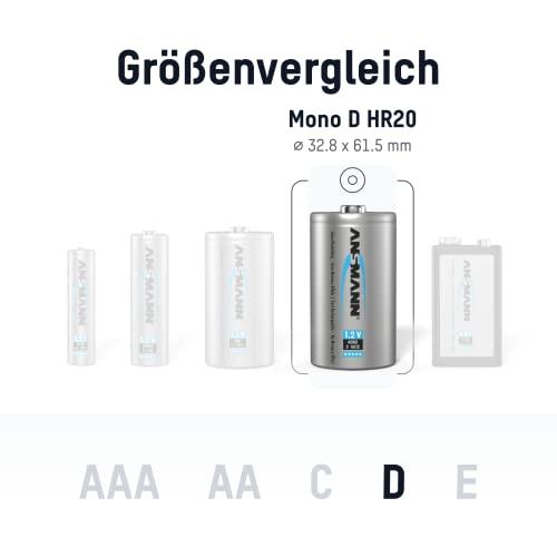 ANSMANN maxE Mono D Akku 8500mAh (2er Pack) vorgeladene ready2use NiMH Power Akkubatterie Monozelle mit geringer Selbstentladung - 3