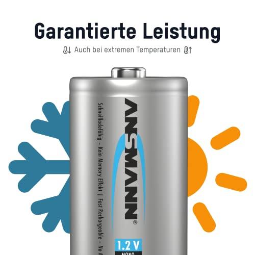 ANSMANN maxE Mono D Akku 8500mAh (2er Pack) vorgeladene ready2use NiMH Power Akkubatterie Monozelle mit geringer Selbstentladung - 2