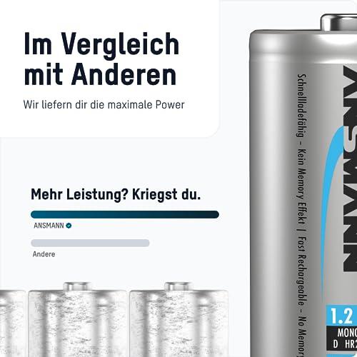 ANSMANN Mono D Akku Typ 10000 (min. 9300mAh) hochkapazitive Profi NiMH Monozelle für Digital Foto Akkubatterie 4er Pack - 5