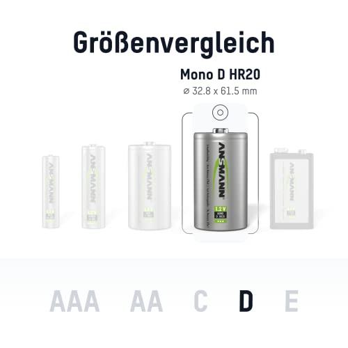 ANSMANN maxE Mono D Akku 5000mAh (2er Pack) vorgeladene ready2use NiMH Power Akkubatterie Monozelle mit geringer Selbstentladung - 2