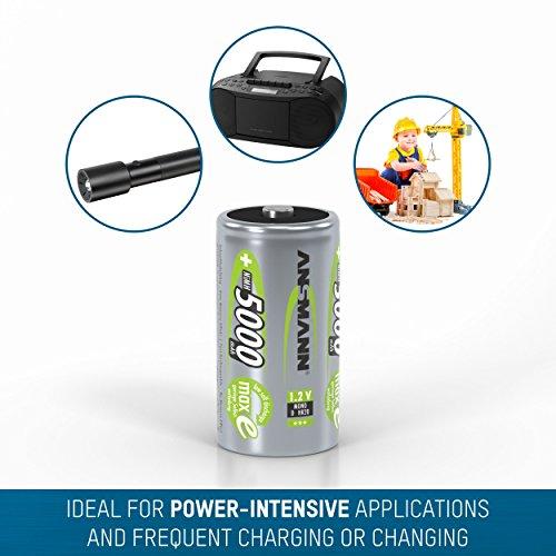 ANSMANN maxE Mono D Akku 5000mAh (2er Pack) vorgeladene ready2use NiMH Power Akkubatterie Monozelle mit geringer Selbstentladung - 5