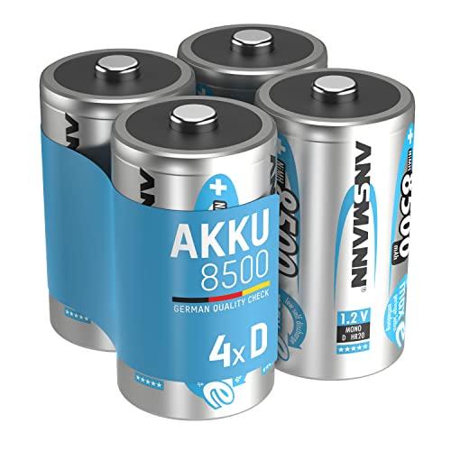 ANSMANN maxE Mono D Akku 8500mAh (4er Pack) vorgeladene ready2use NiMH Power Akkubatterie Monozelle mit geringer Selbstentladung