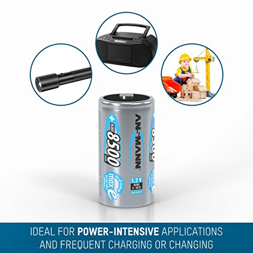 ANSMANN maxE Mono D Akku 8500mAh (4er Pack) vorgeladene ready2use NiMH Power Akkubatterie Monozelle mit geringer Selbstentladung - 5