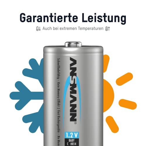 ANSMANN maxE Baby C Akku 4500mAh (4er Pack) vorgeladene ready2use NiMH Power Akkubatterie Babyzelle mit geringer Selbstentladung - 4