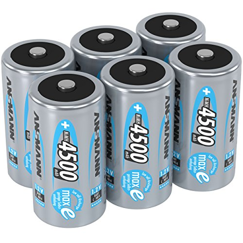 ANSMANN maxE Baby C Akku 4500mAh (6er Pack) vorgeladene ready2use NiMH Power Akkubatterie Babyzelle mit geringer Selbstentladung