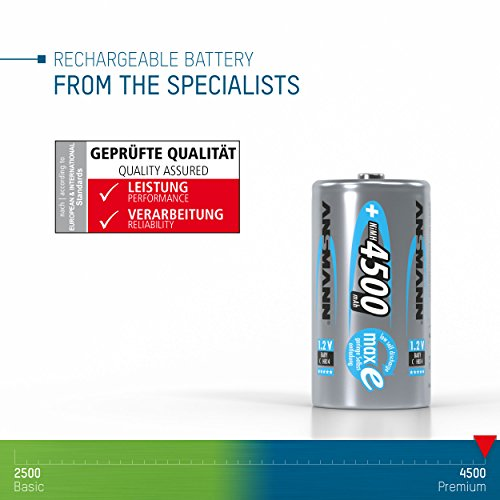 ANSMANN maxE Baby C Akku 4500mAh (6er Pack) vorgeladene ready2use NiMH Power Akkubatterie Babyzelle mit geringer Selbstentladung - 5