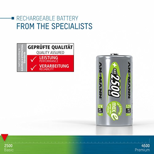 ANSMANN maxE Baby C Akku 2500mAh (4er Pack) vorgeladene ready2use NiMH Power Akkubatterie Babyzelle mit geringer Selbstentladung - 3
