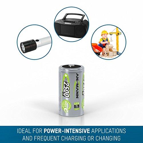 ANSMANN maxE Baby C Akku 2500mAh (2er Pack) vorgeladene ready2use NiMH Power Akkubatterie Babyzelle mit geringer Selbstentladung - 5