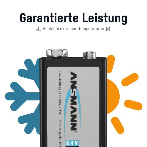 ANSMANN maxE 9V Block Typ 300 (min. 270mAh) vorgeladener 9V Akku geringe Selbstentladung Akkubatterie (2er Pack) - 4