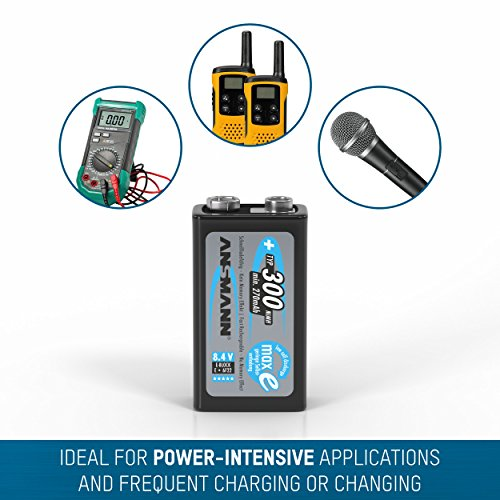 ANSMANN maxE 9V Block Typ 300 (min. 270mAh) vorgeladener 9V Akku geringe Selbstentladung Akkubatterie (2er Pack) - 5