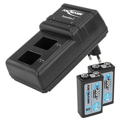 ANSMANN Powerline 2 Akku-Ladegerät für zwei 9V E-Block + (2er Pack) 9V E-Block Akku Typ 300 (min. 270mAh) geringe Selbstentladung Akkubatterie
