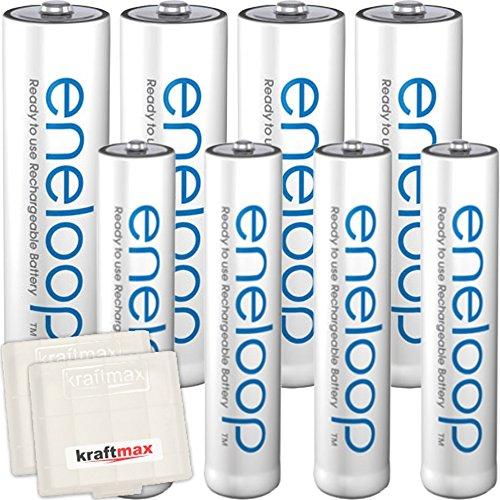 Kraftmax 8er-Kombipack Panasonic Eneloop Akkus - 4 Mignon AA , 4 Micro AAA Akku Batterien in Kraftmax Akkuboxen - Neueste Version