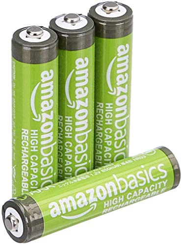 AmazonBasics Vorgeladene Ni-MH AAA-Akkus - Akkubatterien, 500 Zyklen (typisch 850mAh, minimal 800mAh), 4Stck (Design kann von Darstellung abweichen)