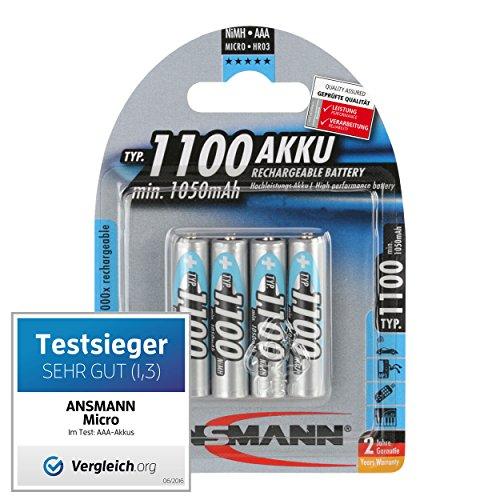 ANSMANN Testsieger Akkus (Vergleich.org 06/2016) 4er Pack Micro AAA Akkus Typ 1100 + 4er Pack Mignon AA Akkus Typ 2850 NiMH Akkubatterien High Power hohe Kapazität - 5