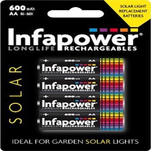 Infapower Solar Wiederaufladbare Akkus, TypAA, 600  mAh, 4Stück