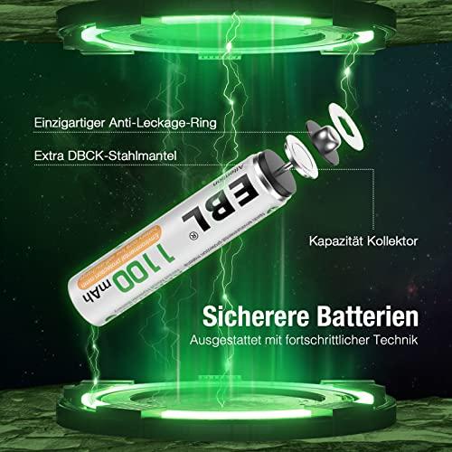 EBL 16 Stück 1100mAh hohe Kapazität AAA Ni-MH wieder aufladbare Batterien - 4
