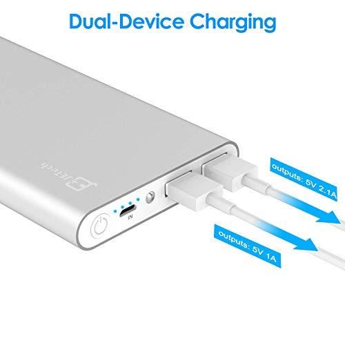 Externer Akku, JETech 10000mAh Ultra Kompakt Dual USB Ausgang Portable Power Bank Externer Akku Ladegerät für iPhone 6/5/4, iPad, iPod, Samsung Geräte, Smartphones, Tablet-PCs (Silber) – 0761 - 4