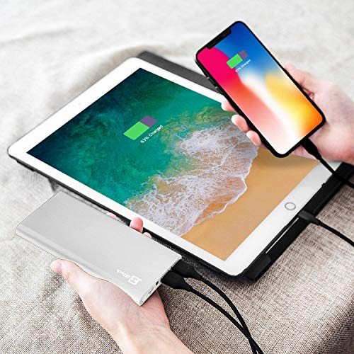 Externer Akku, JETech 10000mAh Ultra Kompakt Dual USB Ausgang Portable Power Bank Externer Akku Ladegerät für iPhone 6/5/4, iPad, iPod, Samsung Geräte, Smartphones, Tablet-PCs (Silber) – 0761 - 5