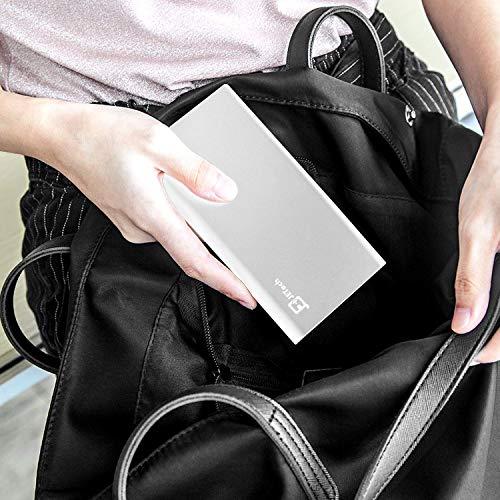 Externer Akku, JETech 10000mAh Ultra Kompakt Dual USB Ausgang Portable Power Bank Externer Akku Ladegerät für iPhone 6/5/4, iPad, iPod, Samsung Geräte, Smartphones, Tablet-PCs (Silber) – 0761 - 6