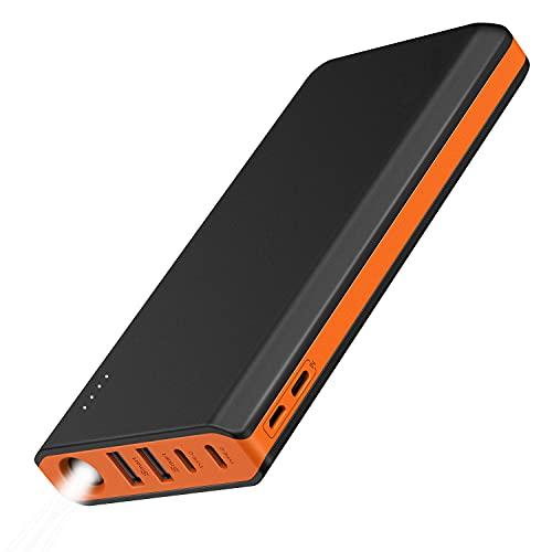 EasyAcc Monster 20000mAh Externer Akku PowerBank mit 4 USB Ausgängen (4A Eingang 4.8A Smart Ausgang) für Android iPhone Samsung HTC Smartphones Tablets - Schwarz und Orange