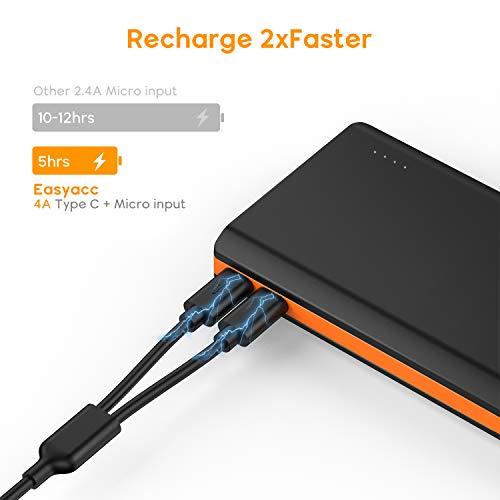 EasyAcc Monster 20000mAh Externer Akku PowerBank mit 4 USB Ausgängen (4A Eingang 4.8A Smart Ausgang) für Android iPhone Samsung HTC Smartphones Tablets – Schwarz und Orange - 3