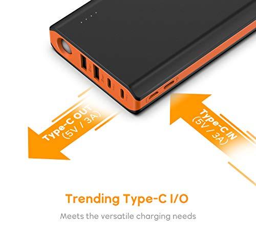 EasyAcc Monster 20000mAh Externer Akku PowerBank mit 4 USB Ausgängen (4A Eingang 4.8A Smart Ausgang) für Android iPhone Samsung HTC Smartphones Tablets – Schwarz und Orange - 4