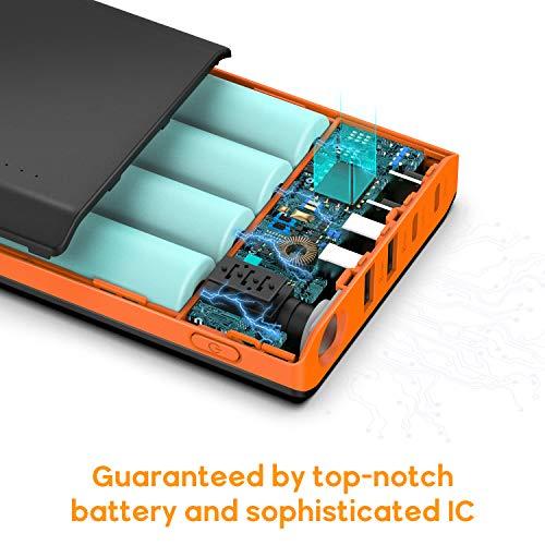 EasyAcc Monster 20000mAh Externer Akku PowerBank mit 4 USB Ausgängen (4A Eingang 4.8A Smart Ausgang) für Android iPhone Samsung HTC Smartphones Tablets – Schwarz und Orange - 6