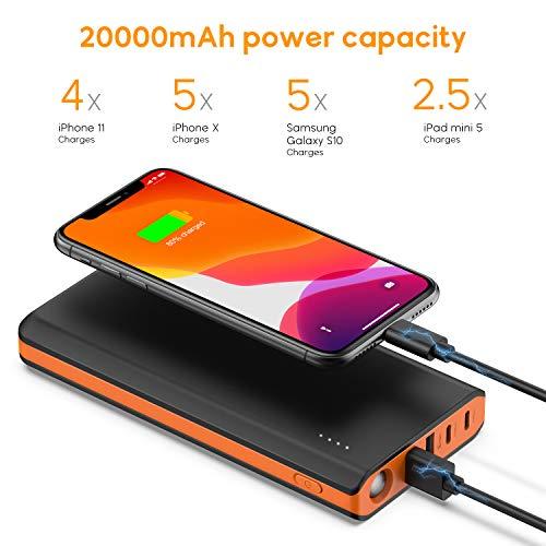 EasyAcc Monster 20000mAh Externer Akku PowerBank mit 4 USB Ausgängen (4A Eingang 4.8A Smart Ausgang) für Android iPhone Samsung HTC Smartphones Tablets – Schwarz und Orange - 7