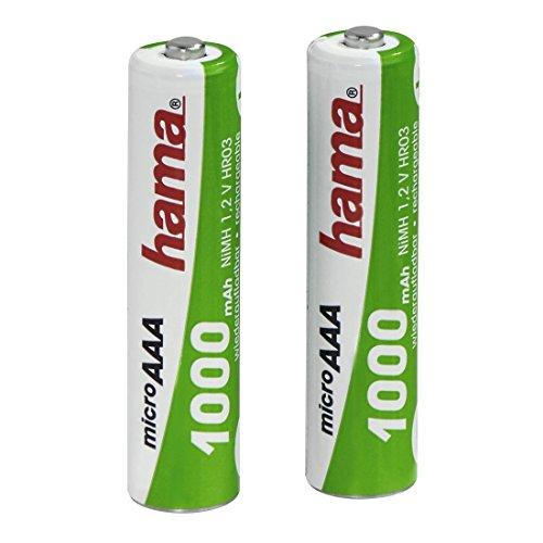 Hama AAA Akkus (wiederaufladbar, 2 x NiMH Batterie, 1000 mAh, 1,2 V, geeignet für Schnurlostelefone, 2er-Pack)