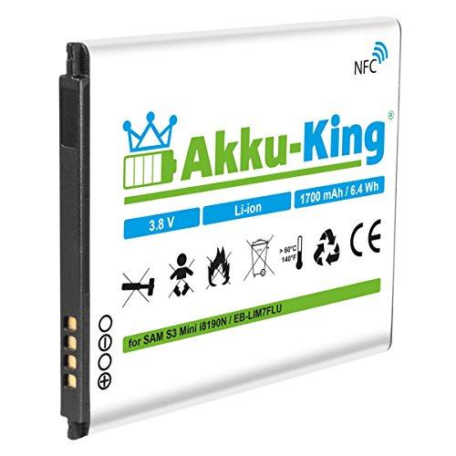 Akku-King Akku für Samsung Galaxy S3 Mini GT-I8190, S III Mini GT-I8190N, GT-I8190T, GT-I8200, GT-I8200L - ersetzt EB-LIM7FLU - Li-Ion 1700mAh mit NFC
