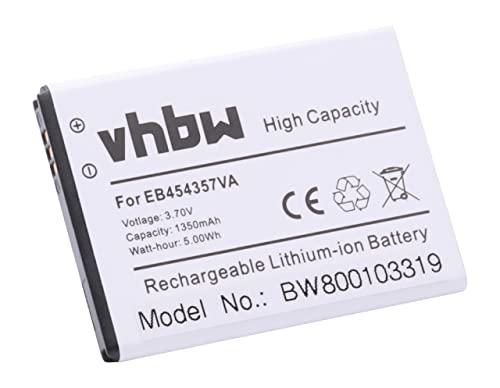 vhbw Li-Ion Akku 1300mAh (3.7V) für Smartphone, Handy Samsung Galaxy Pocket GT-S5300, Wave Y GT-S5380, GT-S5360 u.a. wie EB454357VU, EB454357VA.