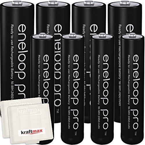 Kraftmax 8er-Pack Panasonic Eneloop PRO XX Akkus - 4x Mignon AA + 4x Micro AAA - Neueste Generation - Hochleistungs Akku Batterien in Kraftmax Akkuboxen V5