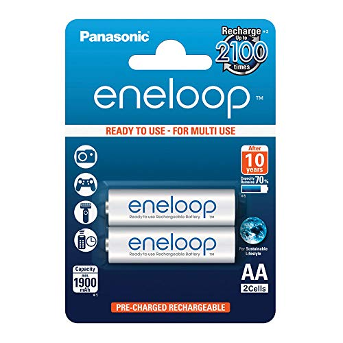Panasonic eneloop, Ready-to-Use Ni-MH Akku, AA Mignon, 2er Pack, min. 1900 mAh, 2100 Ladezyklen, geringe Selbstentladung