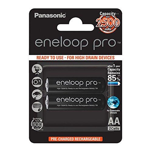 Panasonic Eneloop pro AA Ready-to-Use Mignon NI-MH Akku (2500 mAh, 2er Pack) mit extrastarker Leistung