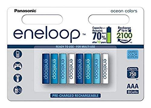 Panasonic eneloop Ocean, Ready-to-Use Ni-MH Akku, AAA Micro, 8er Pack, min. 750 mAh, 2100 Ladezyklen, geringe Selbstentladung