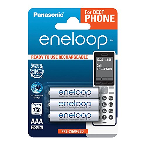 Panasonic Eneloop BK-4MCCE/3DE Ready-to-Use Ni-MH Akku, AAA Micro, 3-er Pack, 750 mAh, 2.100 Ladezyklen weiß
