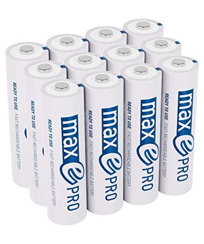 12x ANSMANN maxE PRO Akku NEU mit noch mehr Power 2100 Zyklen, vorgeladen, sehr geringe Entladung LSD Akkubatterie + 3x Akkubox