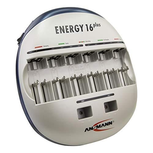 ANSMANN Energy 16 Plus Akku-Ladegerät und Pflegestation für NiMH/NiCd Akkus AAA, AA, C, D, 9V-Block + USB