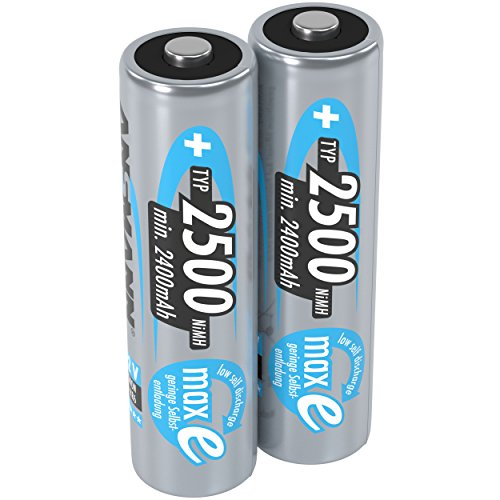 ANSMANN Mignon AA Akku 2500mAh maxE geringe Selbstentladung NiMH vorgeladene Akkubatterie (2er Pack)