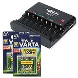 ANSMANN Powerline 8 Akku-Ladegerät Testsieger (Vergleich.org 08/2015) für 8x Mignon AA/Micro AAA Akkubatterien mit Entladefunktion + 8x Varta 2100mAh ready2use