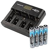 ANSMANN Powerline 5 Pro Akku Ladegerät für 1-4 AAA, AA, C, D NiMH/NiCd Akkus sowie 1 9V E-Block, USB-Port, Ladestrom einstellbar, Kapazitätsmessung, LCD + 4x Micro AAA 1100mAh Akkus