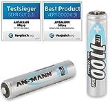 ANSMANN Powerline 5 Pro Akku Ladegerät für 1-4 AAA, AA, C, D NiMH/NiCd Akkus sowie 1 9V E-Block, USB-Port, Ladestrom einstellbar, Kapazitätsmessung, LCD + 4x Micro AAA 1100mAh Akkus - 13
