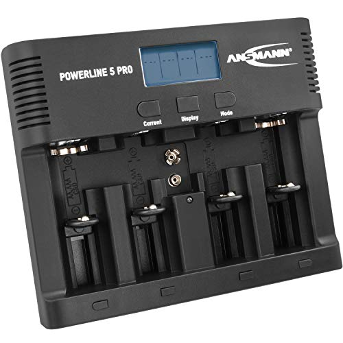 ANSMANN Powerline 5 Pro Akku Ladegerät für 1-4 AAA, AA, C, D NiMH/NiCd Akkus sowie 1 9V E-Block, USB-Port, Ladestrom einstellbar, Kapazitätsmessung, LCD