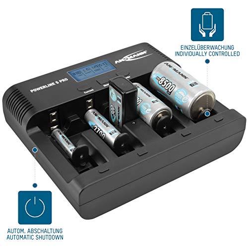 ANSMANN Powerline 5 Pro Akku Ladegerät für 1-4 AAA, AA, C, D NiMH/NiCd Akkus sowie 1 9V E-Block, USB-Port, Ladestrom einstellbar, Kapazitätsmessung, LCD - 7
