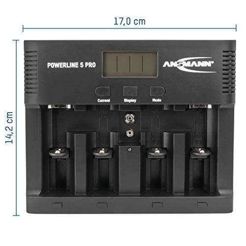 ANSMANN Powerline 5 Pro Akku Ladegerät für 1-4 AAA, AA, C, D NiMH/NiCd Akkus sowie 1 9V E-Block, USB-Port, Ladestrom einstellbar, Kapazitätsmessung, LCD - 4