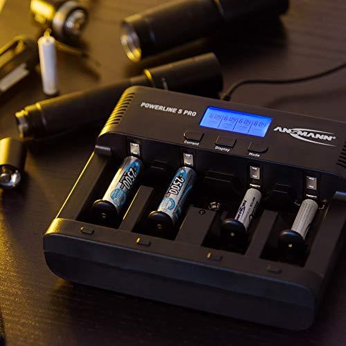 ANSMANN Powerline 5 Pro Akku Ladegerät für 1-4 AAA, AA, C, D NiMH/NiCd Akkus sowie 1 9V E-Block, USB-Port, Ladestrom einstellbar, Kapazitätsmessung, LCD - 6